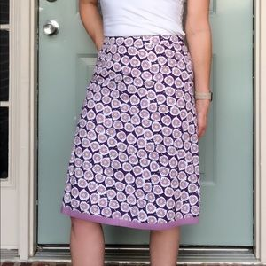 Boden A-Line Purple Floral Skirt